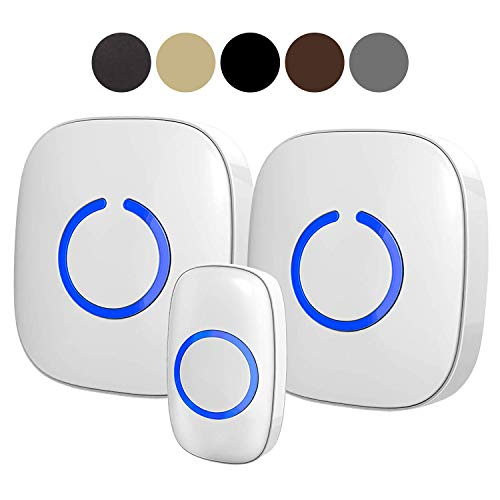 SadoTech Model CXR Wireless Doorbell, 2 Plugin Receivers with Easy Install, Over 1000-feet Range, 52 USA Chimes, Adjustable Volume and LED Flash