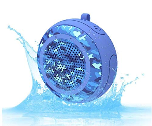 IPX7 Waterproof Outdoor Bluetooth Speaker Swimming Pool Floating Portable Mini Speakers Wireless 5W with Microphone & TWS for Beach, Bathroom, Home, Shower Blue