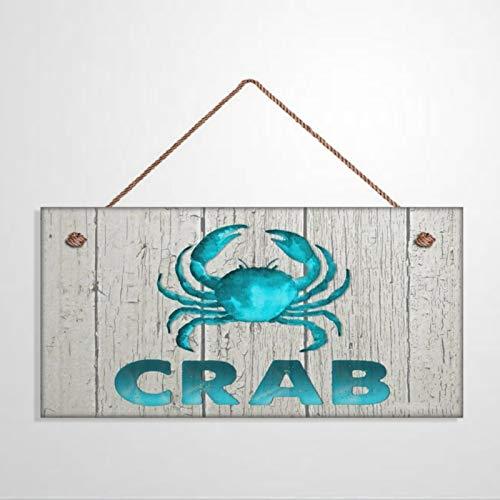 Placa de madera para colgar en la pared, diseño de cangrejo