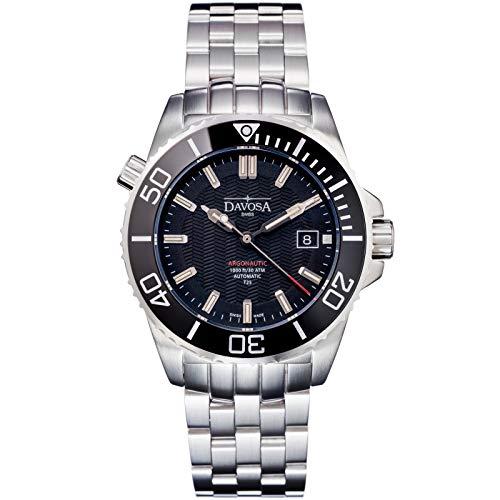 Davosa Herren-Automatik-Armbanduhr, professionell, analog, argonautische Lumis, mit Tritium Leuchtend Black SS