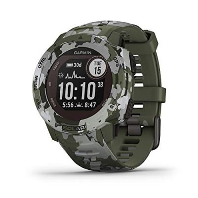 Garmin Instinct Solar, Solar-Powered Rugged Outdoor Smartwatch, Built-in Sports Apps and Health Monitoring, Lichen Camo (010-02293-16)