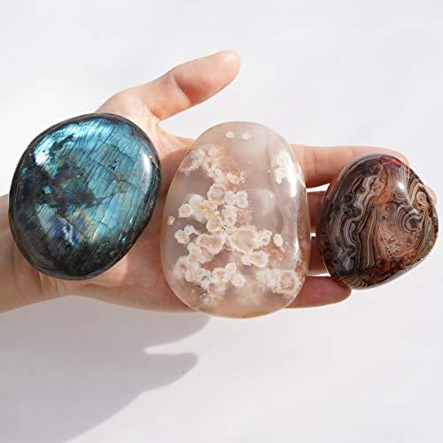 MIMOSA Irregular Polished Labradorite Palm Stones,Banded...