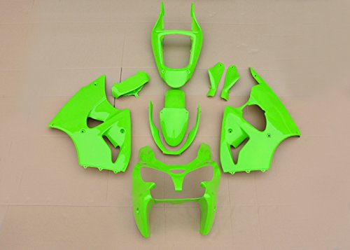 Wotefusi Brand New Motorcycle ABS Plastic Painted Compression Mold Bodywork Fairing Kit Set for Kawasaki Zx-6R Zx6R 2000-2002 2001 Solid Green