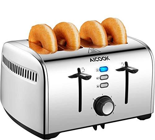 AICOOK Tostapane 4 Fette, 1700W Tostapane Senza BPA con Profond & Larghi 4.2CMSlot Extra-Grandi, 7...