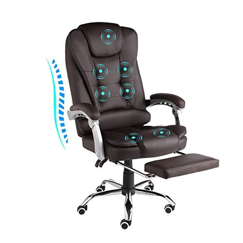 URRED Executive Office Chair with Foot Rest - Comfortable Reclining PU Leather Ergonomic Massage Office Chair Foot Rest with Wheels and Arms 90°-130° Adjustable backrest (PU-Brown)