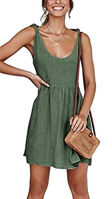 【Material】: Rayon 95% and Spandex 5%.This casual little dress uses very soft material make you feel comfortable all the time.High quality fabric does not look cheap,suit for many occasions. 【Features】: Wide scoop neckline and tie strap design shows m...