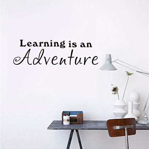 Learning is an Adventure Decal - Teacher Classroom Decoration - School Inspirational Quote Wall Stickers - Children's Room Detachable Quote Wall Decals Home Decor