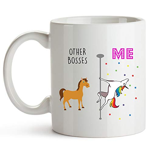 Younique Designs Boss Mug, 11 Ounces, White, Unicorn Mug, Boss Gifts, Boss Lady Gifts