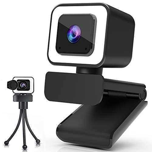 Webcam 2K, Webcam per PC con Microfono, Web Cam con Luce ad Anello Regolabile e Privacy Cover, Treppiede, Grandangolo di 100°, Compatibile con Windows, Android, IOS, Skype, Videoconferenza, Giochi
