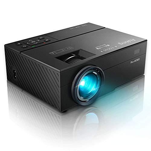 AuKing Mini Projecteur Portable Elevé Lumen Vidéoprojecteur Full HD 1080P Supporté, Multimédia Home Cinéma, LED 55000 Heures Retroprojecteur, Compatible avec USB/VGA/HDMI/TF/AV/3.5 Interfaces Audio