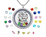 Veeshy Mother's Day Birthday Xmas Gift, Floating Memory Living Charms Lockets, Women Stainless Steel DIY Pendant Necklace with Birthstones