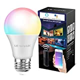 Smart LED Light Bulbs, LampUX WiFi Bulbs, Compatible with Alexa and Google Assistant, Color Changing Light Bulbs, Dimmable with App, A19 E26, 60 Watt Equivalent, No Hub Required