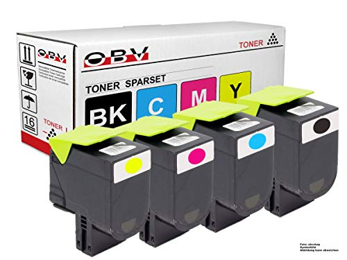 OBV 4X Toner kompatibel mit Lexmark CS317 CS317dn CS417 CS417dn CS517de cx317 CX317dn cx 417 CX417de CX517de schwarz, Cyan, Magenta, gelb