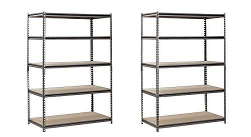 EDSAL Heavy Duty Garage Shelf Steel Metal Storage 5 Level Adjustable Shelves Unit 72' H x 48' W x...