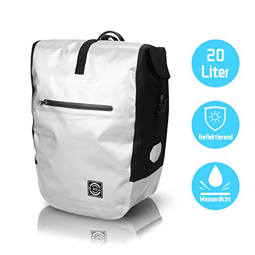 ZORARA Fahrradtaschen für Gepäckträger Wasserdicht & Reflektierend - 20L Gepäckträgertasche Ideale Radtasche fürs Fahrrad (Silber)