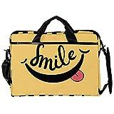 Mochila unisex para ordenador o tableta, ligera, bolsa de viaje de lona, 13.4-14.5 pulgadas con hebillas, sonrisa traviesa con lengua