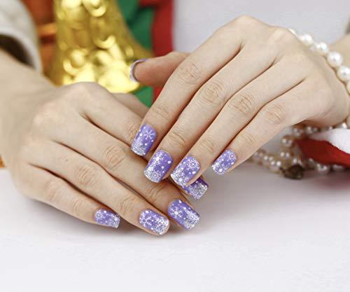 Artplus 24pcs Preglued Light Purple Christmas Nails 58718 Fake Press on Nails with Adhesive Medium False Nails
