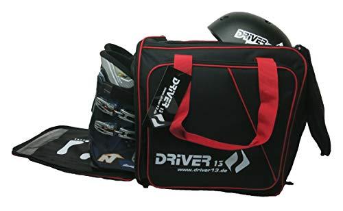 Driver13 Zaino per Scarponi da Sci con Scomparto per Casco + Zaino per Scarponi da Sci con Scomparto per Casco per Hard + Scarpone da Snowboard + Interno + Borsa per Scarponi Nero-Rosso