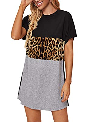 Soft, lightweight, skin-touch material, the mini dress will give you a comfortable wearing experience. Features: This women tunic dress features high-quality fabric, colorblock design, leopard pattern and crew neck. The t-shirt dress goes great with ...