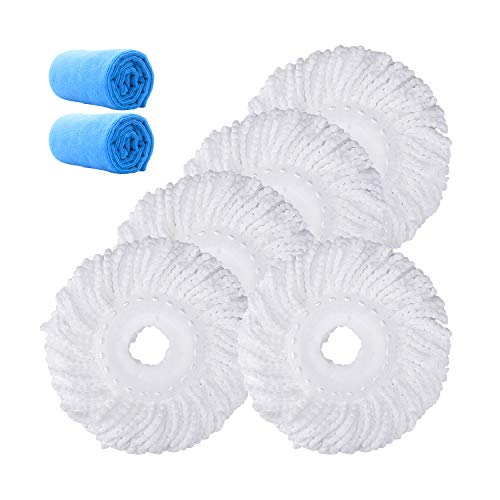 Microfiber Replacement Mop Head Refill for 360 Spin Magic Mop - Round Shape Standard Universal Size (5 Pack)
