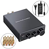 Proster Stereo Audio Amplifier 2 Channel Mini Hi-Fi Amp Class D Integrated Amp Digital Power Amplifier with Bass Treble Control Short Circuit Protection for Home Speakers 50W + 50W