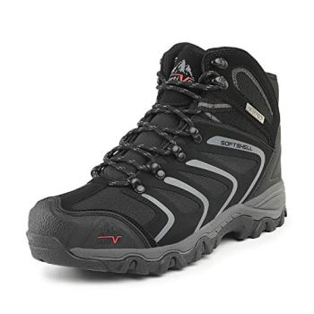 NORTIV 8 Men's 160448 Black Grey Ankle High Waterproof Hiking Boots Outdoor Lightweight Shoes Backpacking Trekking Trails Size 6.5 M US