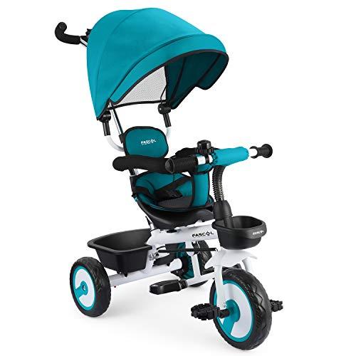 Fascol 4 in 1 Triciclo Passeggino per Bambini Triciclo con Sedile Girevole e Tenda da Sole Regolabile Adatto per età 12 Mesi - 5 Anni,Blu