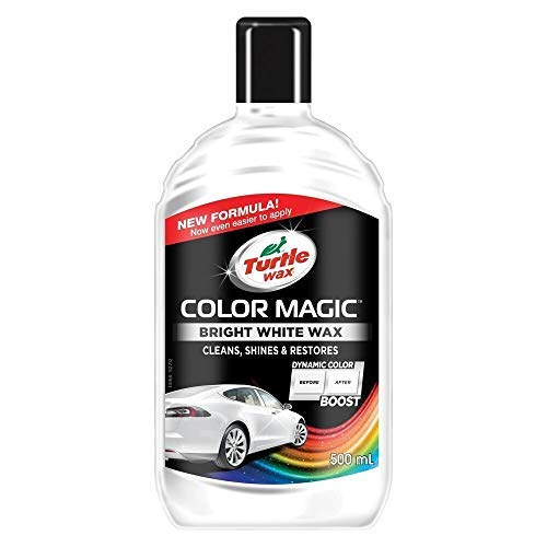 Turtle Wax Color Magic 52712 Car Polish Cleans Shines Restores Scratches - Bright White Wax 500ml