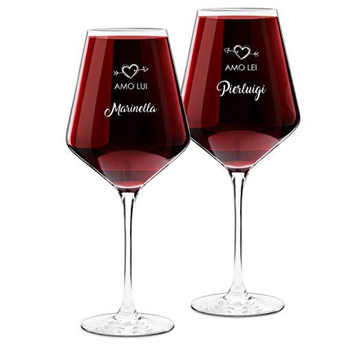 Murrano Calici da vino Avant-Garde - incisione personalizzata - 490 ml - set da 2 pezzi in vetro - ideale per vino rosso e bianco - regalo di anniversario unico per coppia - amo Lei-Lui