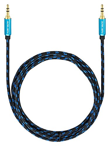Ultra HDTV Premium AUX-Kabel 1 Meter | Audio-Kabel 3,5mm auf 3,5mm | Klinken-Kabel mit Metall-Adaptern