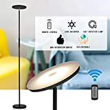 Sky LED Torchiere Super Bright Floor Lamp, Shalomlite Dimmable Standing Uplight Lamp with Remote and Touch Control, Adjustable Tall Standing Pole Light for Reading, Living Rooms, Bedroom and Offices