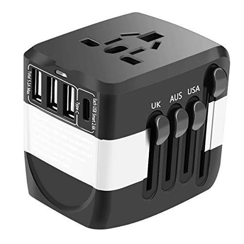 Viixm Adattatore Universale da Viaggio All-in-one Adattatore con 3 Porte USB e Tipo-C Caricatore per Apparecchiature per L'utilizzo Negli Stati Uniti, Regno Unito, Europa, Australia, Asia, ecc.