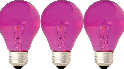 GE Lighting 47627 25-Watt Pink A19 Light Bulb with Medium Base, 3-Pack