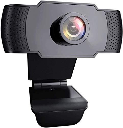Atheta Webcam mit Microfon 1080P Full HD Webcam USB Plug & Play, Laptop PC Kamera Automatischer Lichtkorrektur für Live-Streaming, Skype, Video Chat und Aufnahme