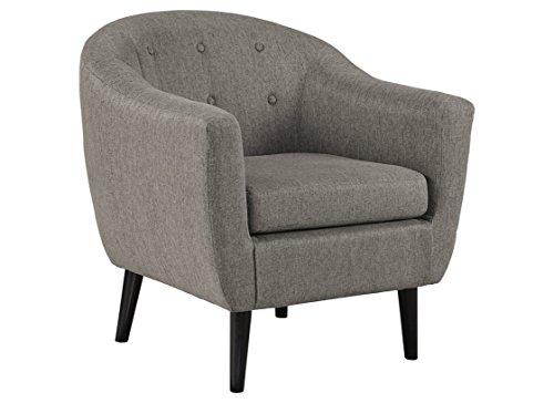 Signature Design by Ashley - Klorey Accent Chair - Barrel Design - Contemporary Style - Charcoal Gray