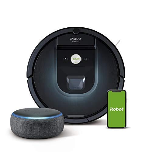 iRobot Roomba 981 - Robot Aspirador, WiFi, Aspiración de Alta Potencia, Dirt Detect, Recarga y Sigue la Limpieza + Echo Dot (3.ª generación) - Altavoz Inteligente con Alexa, Tela de Color Antracita