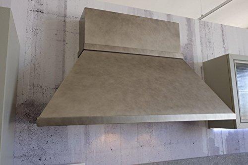 Cappa Officina industrial design camino squadrato effetto metallo 120 150 180 (cm_120)