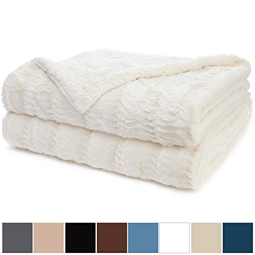 The Connecticut Home Company Luxury Faux Fur Bed Throw Blanket, King Size, 108x90, Super Soft, Large Wrinkle Resistant Reversible Blankets, Warm Hypoallergenic Washable Throws for Beds, Ivory