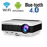 Wireless Bluetooth LED Video Projector 4800 lumens HD HDMI Airplay WiFi LCD Android Bluetooth Support 1080P Wxga HD Projector for Home Cinema Outdoor Movie Game TV Laptop PC Tablet Smartphone DVD