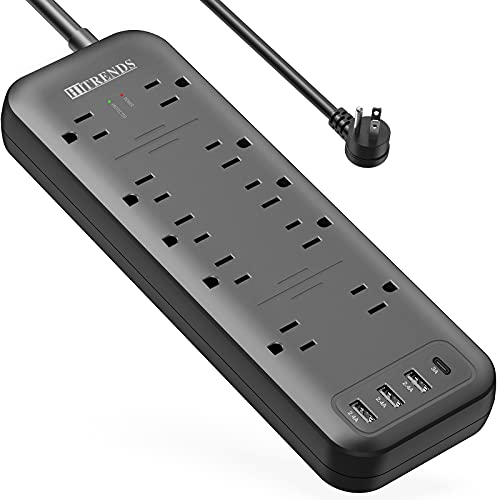 Power Strip, HITRENDS Surge Protector with 10 Outlets & 3 USB Ports & 1 USB-C Port (5V/3A), 1875W/3600 Joules, Angled Flat Plug, Spaced Outlets with 6ft Extension Cord for Home Office (Black)