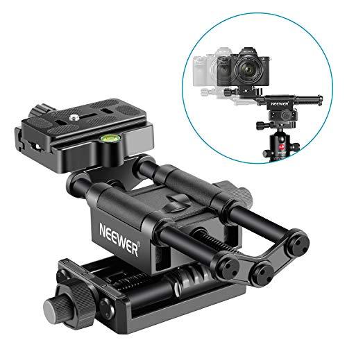 Neewer Profi 4 Wege Makro Fokussierschiene mit 1/4-Zoll-Schnellwechselplatte Kompatibel mit Canon Pentax Olympus Sony und Anderen DSLR-Kameras und Camcordern Ideal für Nahaufnahmen