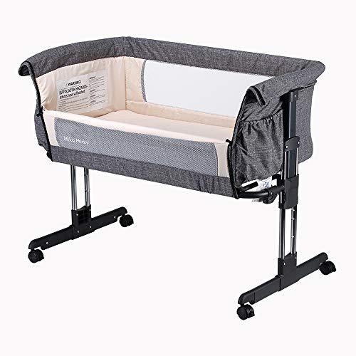 Image of Mika Micky Bedside Sleeper Easy Folding Portable Crib,Grey