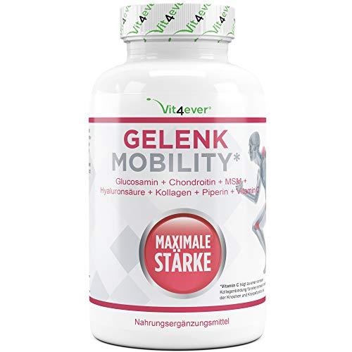 Gelenk Mobility Tabletten - Hochdosiert mit 7 aktiven Inhaltsstoffe: Glucosamine + Chondrotin + MSM + Hyaluronsäure + Kollagen + Vitamin C + Schwarzer Pfeffer Extrakt - 120 Stück