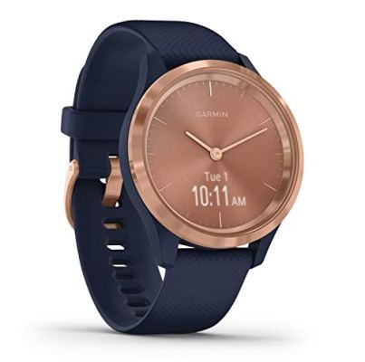 Garmin vivomove 3s, Smaller-sized Hybrid Smartwatch with Real Watch Hands and Hidden Touchscreen Display, Rose Gold with Navy Blue Case and Band