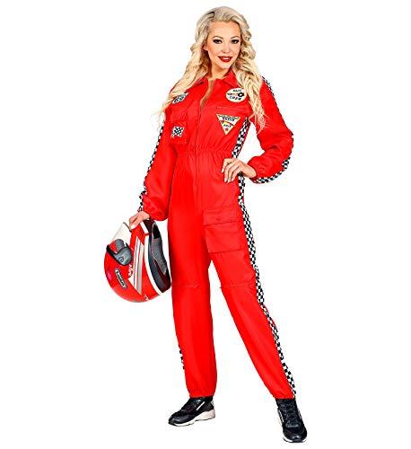 Widmann Rennfahrer Kostüm Overall Jumpsuit rot Anzug exklusiv (Damen Overall, Small)