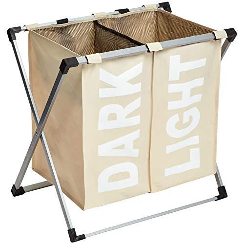 Amazon Basics - Doppelter Wäschekorb, Beige