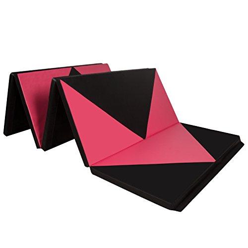 CCLIFE 300x118x5cm Klappbare Weichbodenmatte Turnmatte Fitnessmatte Gymnastikmatte rutschfeste Sportmatte Spielmatte, Farbe:Schwarz&Rot Raute 300x118x5cm
