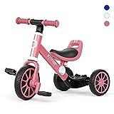 XJD 3 in 1 Triciclo per Bambini Bicicletta Equilibrio Adatto per età 1-3Anni Certificazione CE Classico 1.0 (rosa scuro)