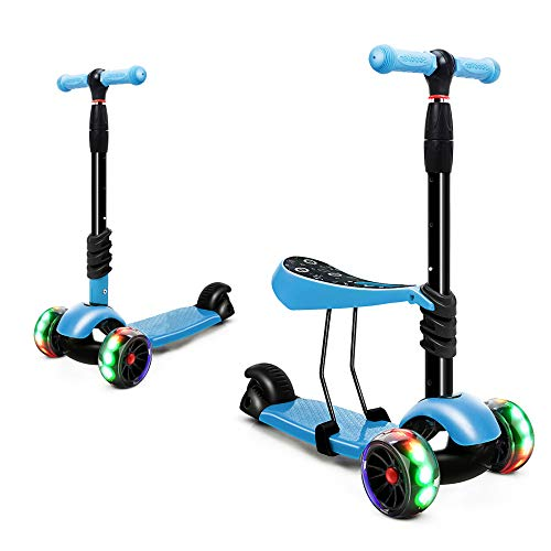 XJD Scooters for Kids Toddler Scooter with Removable Seat 3 Wheel Scooter for Boys Girls Adjustable Height PU Flashing Wheels Extra Wide Deck Scooter for Children from 2 to 8 Years Old Blue