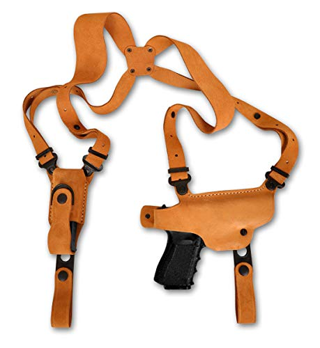 MASC Premium Suede Leather Shoulder Holster with Single Magazine Carrier for Beretta Storm PX4-4BBL Full Size, Right Hand Draw Natural Color #1003#